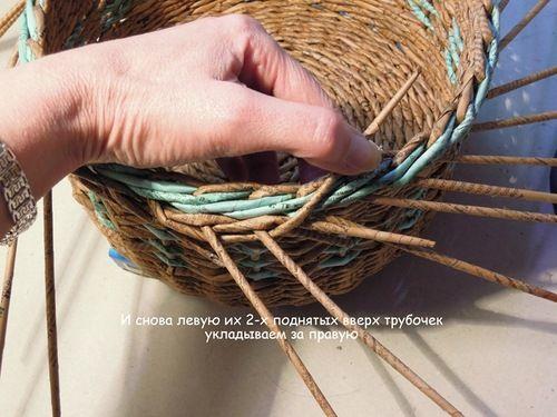 Интересная концовка плетения корзины, загибка. Плетение из газет-МК. Обсуждение на LiveInternet - Российский Сервис Онлайн-Дневников