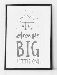 a sueno grande pequena foto gris y blanco ninos regalo de impresion arte de pared de habitacion guarderia