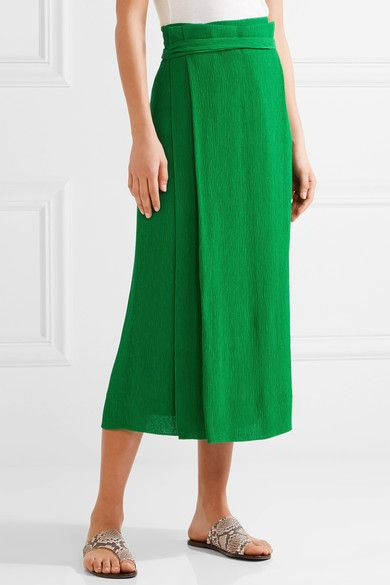 Protagonist - Plissé-crepe Wrap-effect Midi Skirt - Bright green - US10