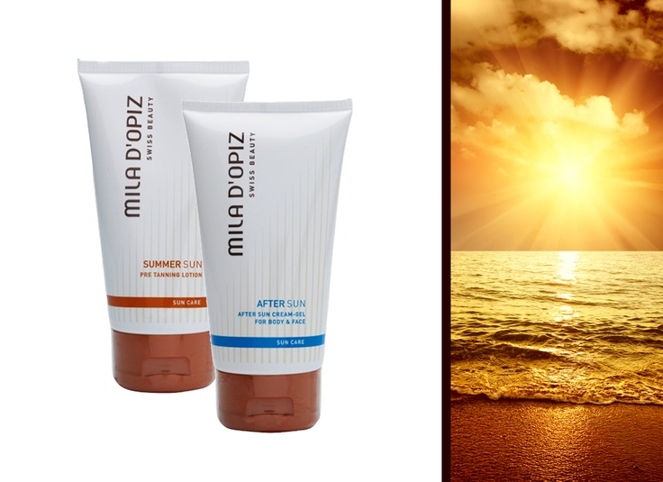 Mila d'Opiz Australia - Swiss Sun Care Pre Tanning Lotion, activates natural tanning process. After Sun Cream-Gel, cooling and relaxing skin feeling. Calms irritated skin and mild reddening.