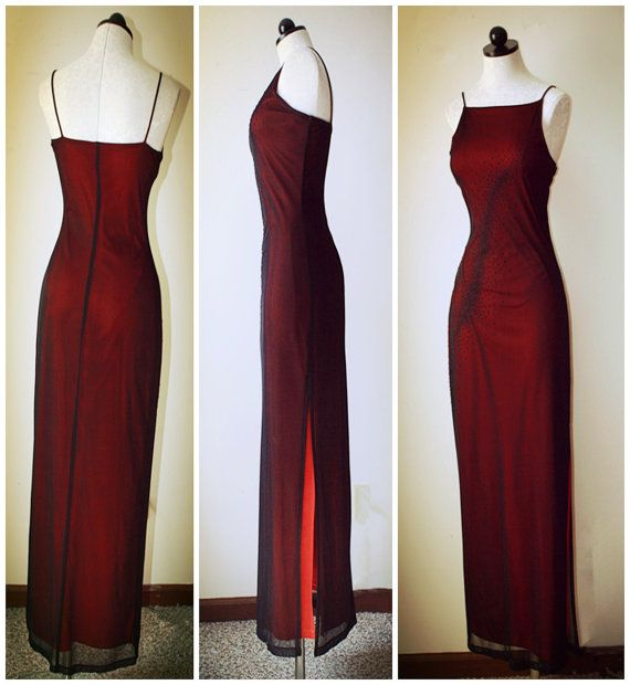 Vintage sexy FINESSE stars radiance big red lined crimson yarn coverage sling halter unilateral open evening dress size S / M