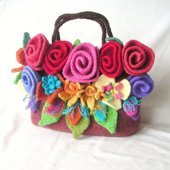 Felted Flowers Bag Knitting Pattern Tutorial pdf, Knit Felt Flower Pattern, Knit Felt Bag Pattern. $27.45, via Etsy.