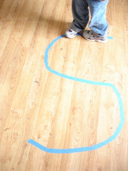 Kinesthetic Learning - Painters tape on the floor - walk the 'S', hop the 'S' - awesome for my boy