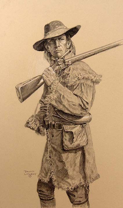 """His looks spoke out that he would not fear the devil, should he meet him face to face.""  Quote about a Scots-Irishman - waaay back in the day - 1700's or so.  Fm ""British Origins of American Colonists""  Frontiersman with Pipe by H. David Wright - David Wright Art"