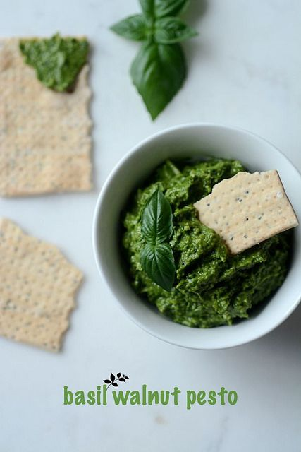 walnut basil pesto recipe, an easy pesto recipe with walnuts and basil leaves without the pine nuts used in classic basil pesto recipe