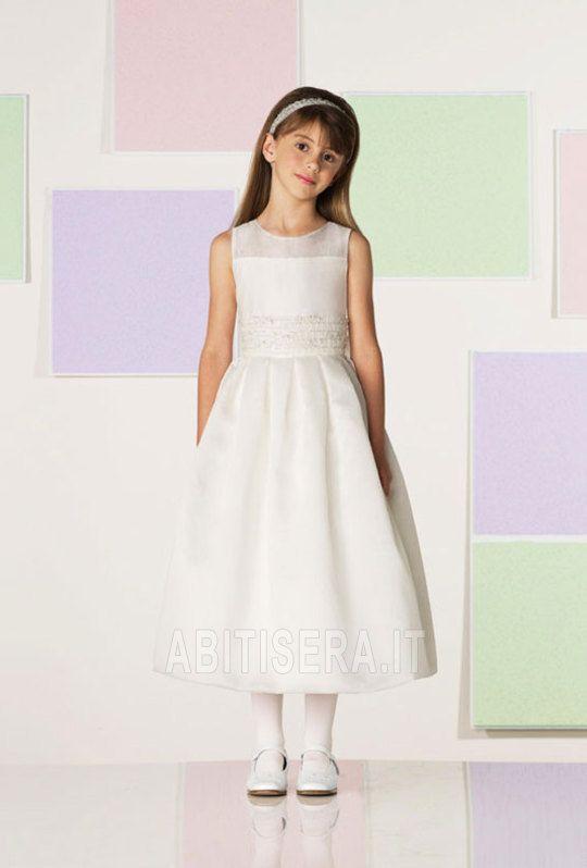 Abito da ragazza di fiore Bianco Principessa Buco Della Serratura Schiena