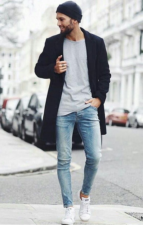Fall combo inspiration with a black beanie gray shirt black topcoat light  wash skinny jeans no show socks white stan smith sneakers  streetstyle   streetwear ... a4d2fd9d2f5f