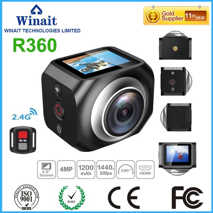 Free Shipping Winait Mini WIFI action camera R360 with Waterproof level 30 meters,220 degree super wide lens
