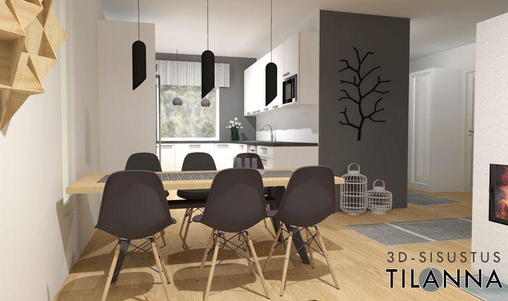 3D-sisustussuunnittelu ja -stailaus/ moderni - skandinaavinen keittiö ja ruokailutila, dsw-tuolit/ Sancon, Åkerskränden 13 / 3D-sisustus Tilanna