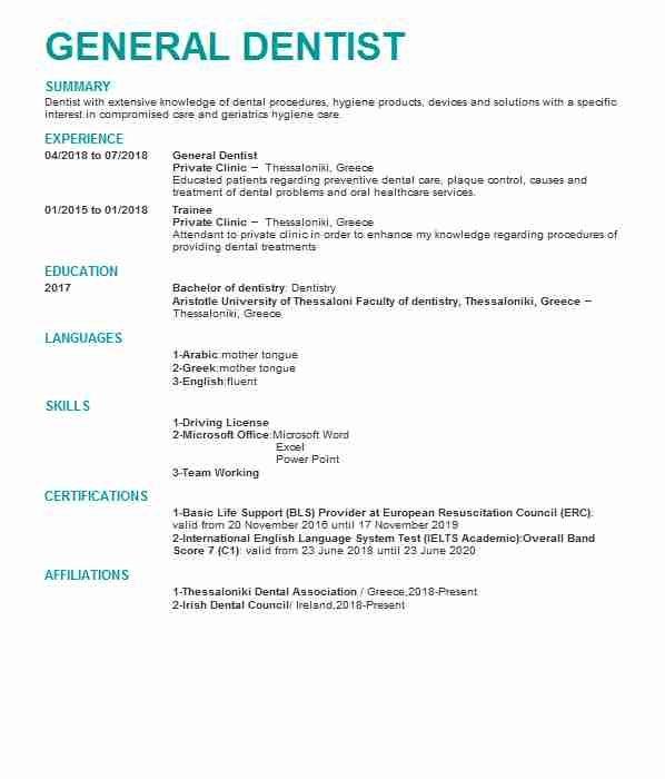 833 Dental Cv Examples Templates Livecareer Dentist Resume Cv Template Dental Hygiene Resume