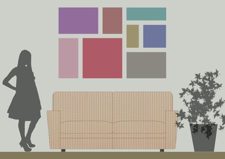 Il vostro divano è accostato a una parete nuda e triste? Ecco i consigli per valorizzarla, vestirla e appendere quadri e stampe in modo corretto