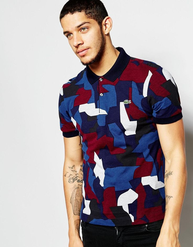 Lacoste Live Polo Shirt with Camo Print Slim Fit