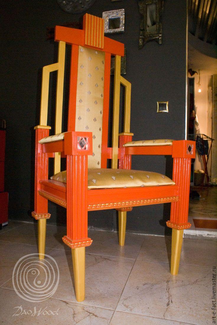 """Купить Арт кресло трон """"Франт"""" - ярко-красный, золото, красно-золотой, кресло, трон"""