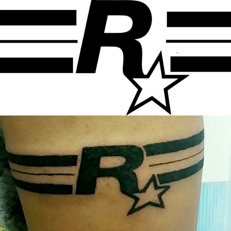 Rockstar Games Logo Tattoo.GTA tattoo.Band Tattoo with letter.GTA band Tattoo.Tattoo for Gamer! If want HQ or editable file ask @ rohitkamble.b@gmail.com