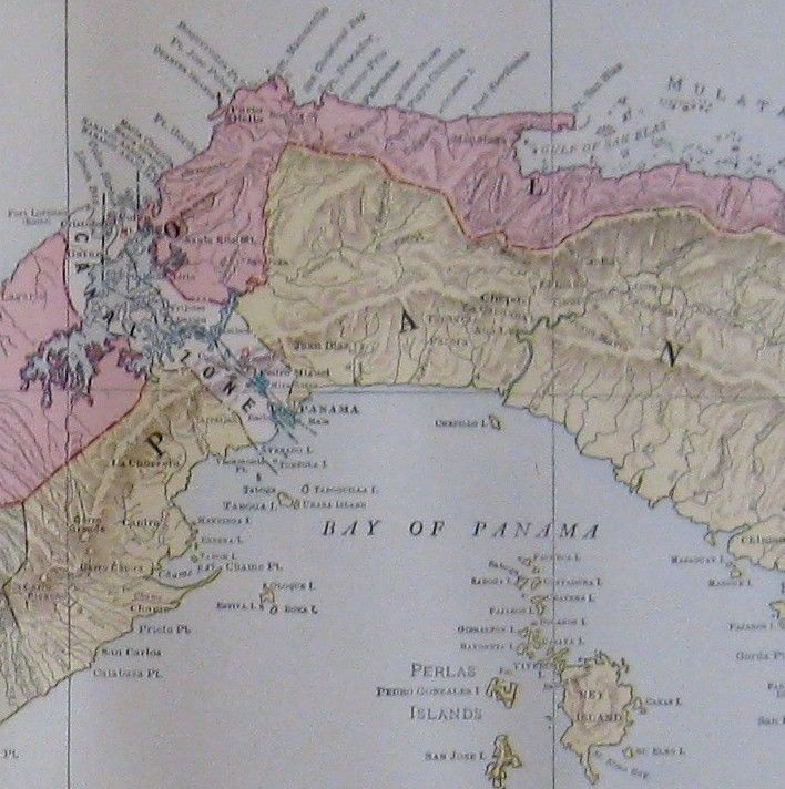 Puerto Rico Map World%0A      Antique PANAMA Map Original Vintage Map of Panama Canal w Railroads