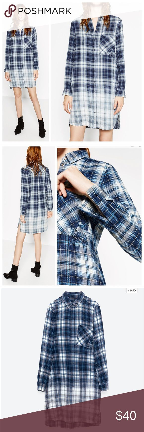 Zara Flannel Shirt Dress This is a super cute and comfy flannel shirt dress! I love the ombré effect of the flannel on this dress. It has some cute little studded detail at the collar and on the star patch as well. This is brand new with tags on! And retails for $50! Size is XS and measures about 35 inches long from shoulder to hem! Love this! Super cute, casual, and stylish! Zara Dresses