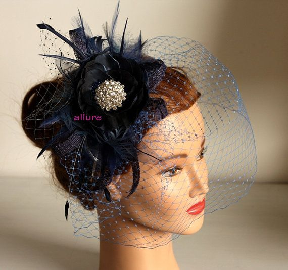 Fabulous BIRDCAGE VEIL , navy blue wedding headpiece. Blue fascinator for bridesmaid. Amazing wedding hair flower.