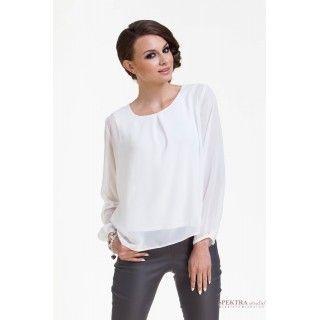 Szyfonowa bluzka damska z kontrafałdą na dekolcie, biała.
