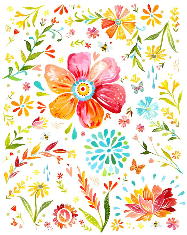 Pocketful of Posies by Katie Daisy #flowers  #colorful #happy