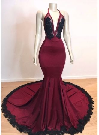 USD 169.00 - Elegant V-Neck Halter Mermaid Prom Dresses  34ab0ab4487b