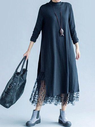Vintage Turtleneck Long Sleeve Patchwork Polka Dot Lace Loose Women Dress