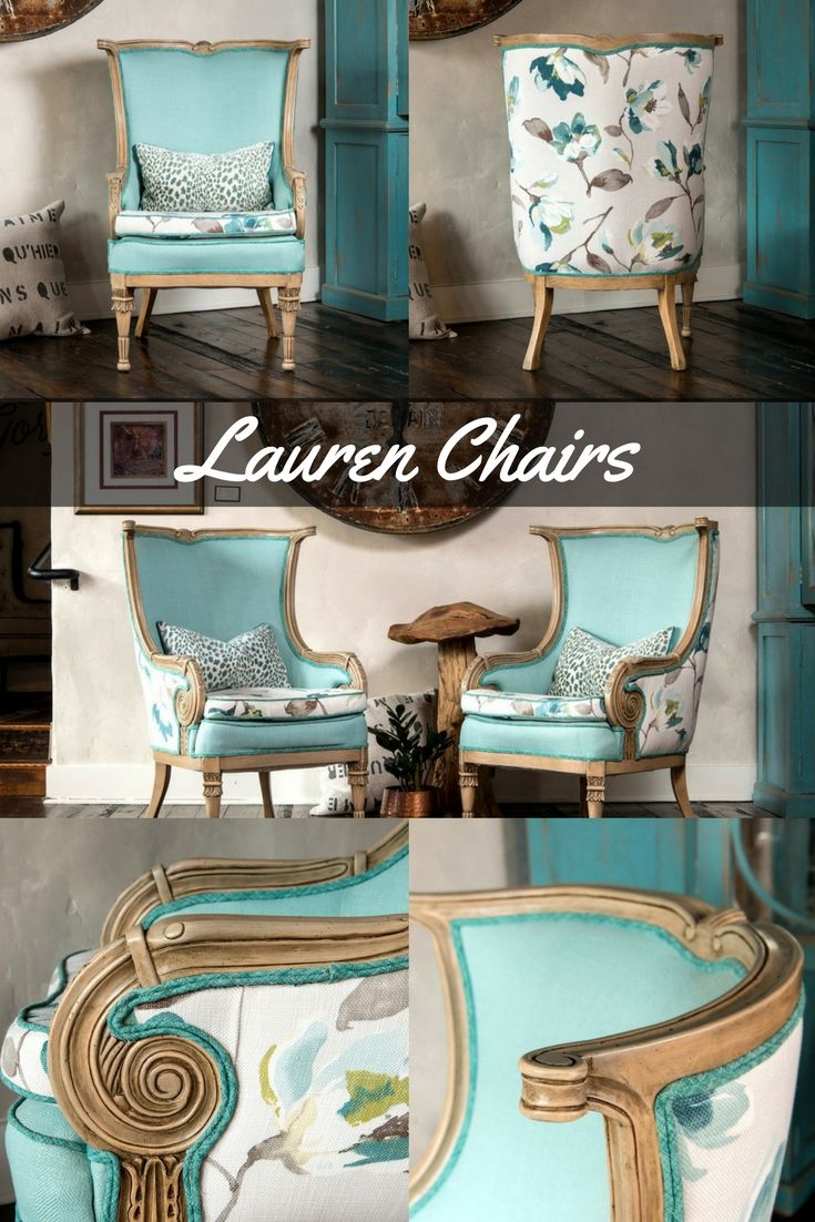 The Lauren Chairs - These beautifully hand crafted chairs have sturdy mahogany hardwood frames.   There is mortise and tenon joinery and eight way hand tied suspended springs in the interior.  The carved arms make a large scroll on both sides, with leaf details on the legs and frame.
