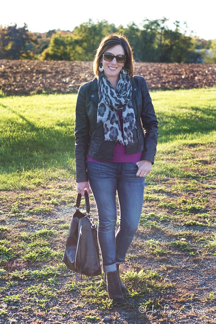 Winter Outfit Ideas for Women Over 40: moto jacket, leopard scarf, v-neck sweater, suede booties, marmi shoes