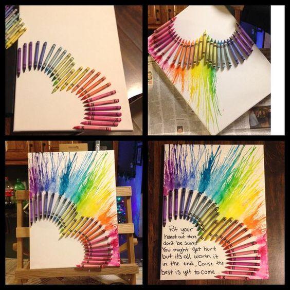 Heart melted crayon art: