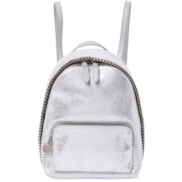 Stella McCartney Women's Metallic Backpack - Silver ($689) ❤ liked on Polyvore featuring bags, backpacks, silver, stella mccartney bag, stella mccartney purse, silver bag, zip bag and zipper purse