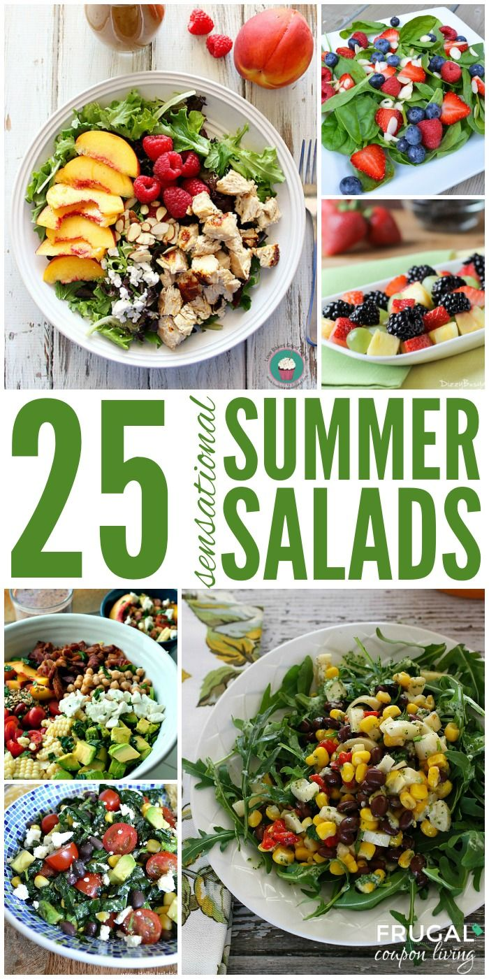 25 Summer Salad Recipes You Will Love. Round-up of some of the freshest, berriest, greenest salads you will love for the summer on Frugal Coupon Living.