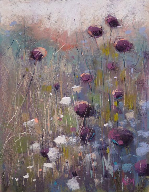 Sunset Landscape Prairie Wildflowers Original Pastel Painting Karen Margulis 11x14