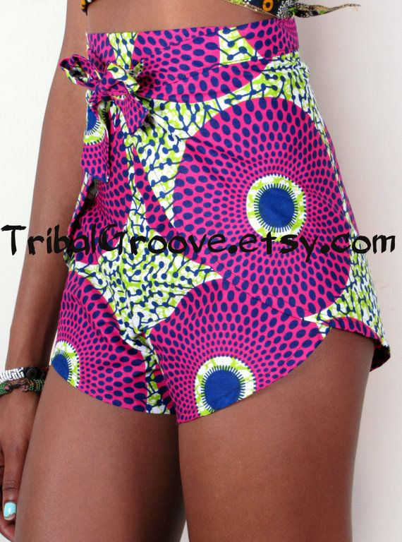 High Waist African Print Pants Shorts - Bold Bright African Wax Print Wrap - More Fabric Choices! on Etsy, $50.00
