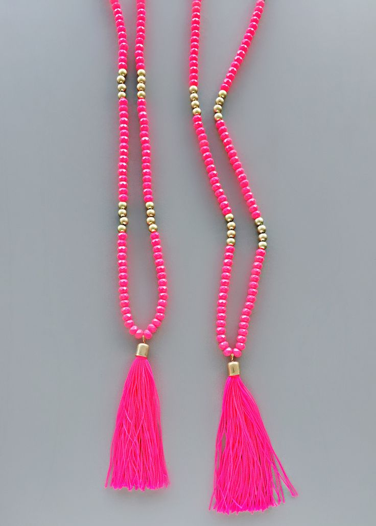 Neon Pink Tassel Necklace – Pree Brulee | Jewelry ...