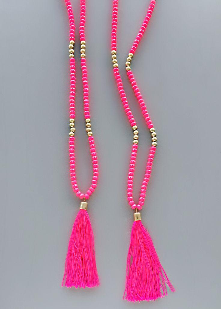 Neon Pink Tassel Necklace – Pree Brulee