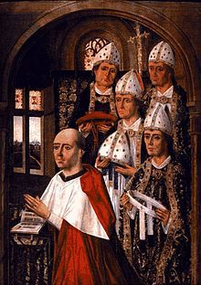 Pedro González de Mendoza (May 3, 1428 – January 11, 1495) was a Spanish cardinal and statesman who served as Archbishop of Toledo (1482-1495), Archbishop of Sevilla (1474-1482), Bishop of Sigüenza (1467-1474), and Bishop of Calahorra y La Calzada (1453-1467).