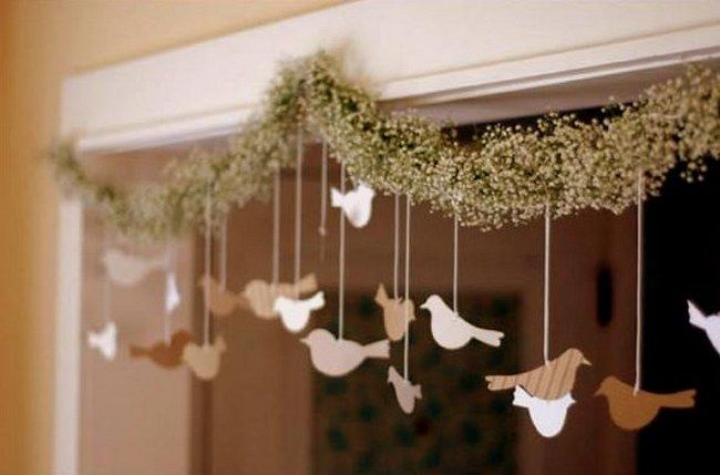 DIY Baby's Breathe, Burlap & Lace Wedding Ideas | Confetti Daydreams - We share the DIY for this special Baby's Breathe garland  with little hanging paper birds, which are great to hang above an entrance way or as part of your wedding ceremony canopy or arch ♥ #BabysBreathe #Burlap #Lace #Wedding