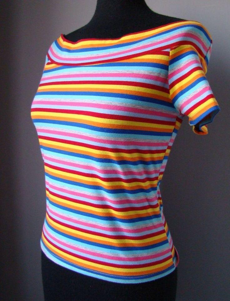 Blusa top maglia S M fantasia righe strisce MULTICOLORE manica corta maglietta