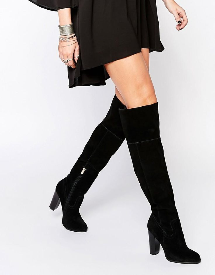 ALDO | ALDO Bove Black Suede Block Heeled Over The Knee Boots at ASOS