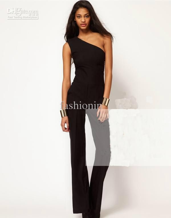 2016 In Europe And The Hot Style Sexy Women'S Classic Black Jumpsuits One Shoulder Wide Legged Sleeveless Chiffon Bell Bottomed Pants Suit From Cathywang168, $25.66 | Dhgate.Com
