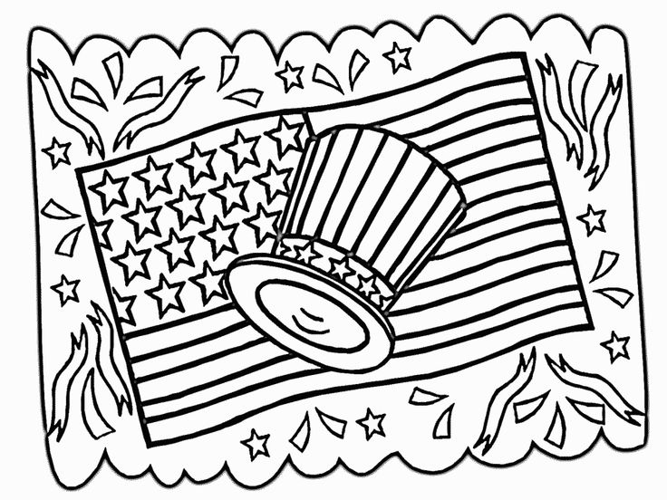 Flag Hat 2 Free Printable Of July Coloring Pages