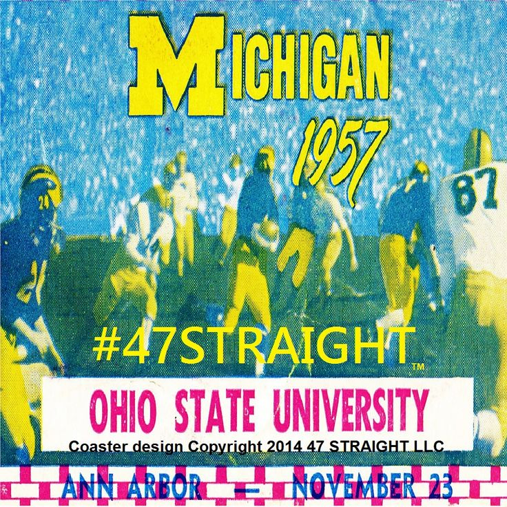 #startups #startup #brands #SMM #Pinterest #innovation #Row1™ Michigan Wolverines drink coasters made from a 1957 Ohio State vs. Michigan football ticket. Best football gifts for college football fans! Design Copyright 2014 47 STRAIGHT LLC. Football gifts made from a historic college football ticket collection of 2,500 tickets. #47Straight™