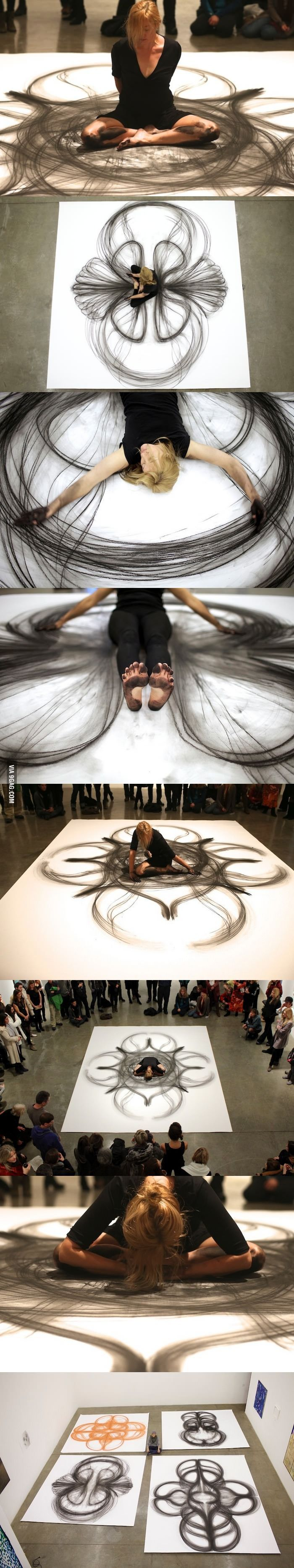 Artist makes life-size art using just her body and a piece of charcoal