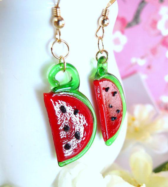 Glas-Wassermelone baumeln Ohrringe Gold gefüllt von KBlossoms