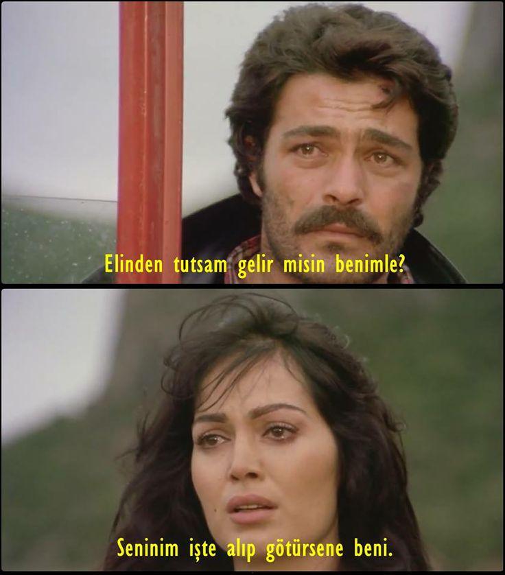 İlyas: Elinden tutsam gelir misin benimle? Asya: Seninim işte alıp götürsene beni. — Selvi Boylum Al Yazmalım (1977)