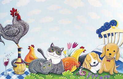 raffaelladivaio*illustrazione e creatività: CHICCHIRICHI' noi aspettiamo sorridenti l'arrivo della primavera. L'ALLEGRA FATTORIA acrilico su tela, cm. 80x120 per Agriturismo Vini Campanacci ©raffaelladivaio.com