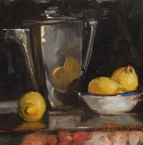 """Daily Paintworks - """"Art Deco with Lemons  still life painting by Robin Weiss"""" - Original Fine Art for Sale - © Robin Weiss"""