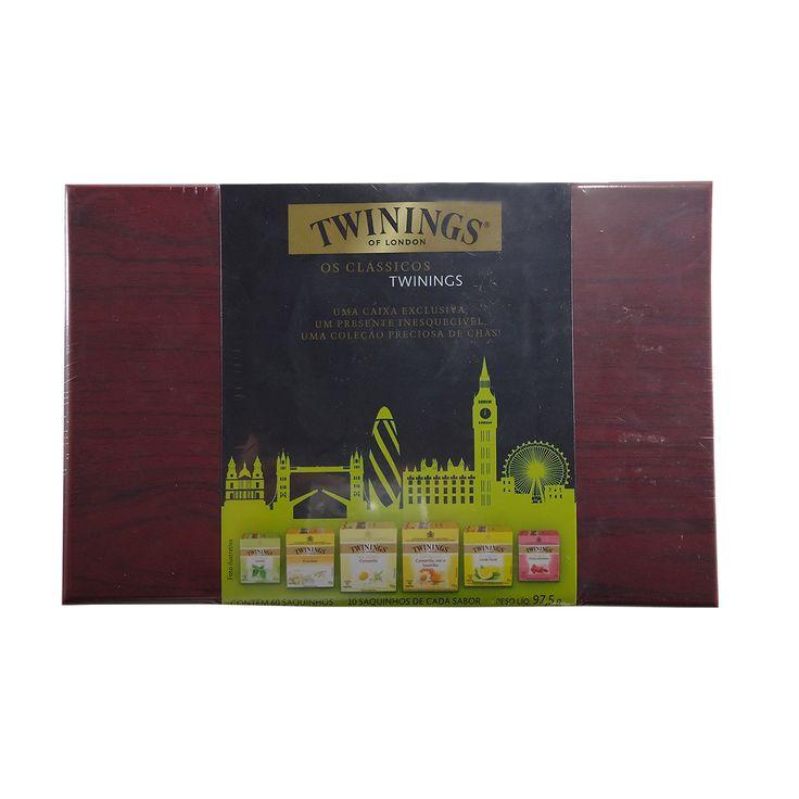 Caixa de madeira Twinings com 60 saquinhos de chá - R$64,90