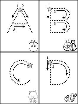 """I put these in each student's morning work folders, and using the star as a starting place....students follow the arrows with their finger while quietly saying the name of the letter. Then repeating (looking at the picture if needed), saying the letter's sound or """"a is for alligator...a-a-a"""" These are also laminated and in a center with dry erase pens.I hope this helps your student's in some way."""
