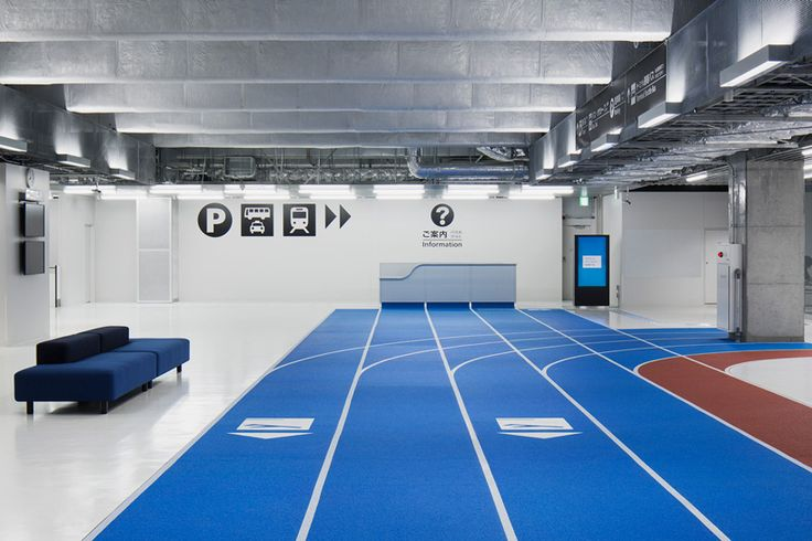 narita airport's terminal 3 is connected with color-coded running tracks