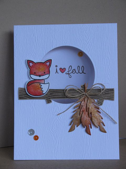 Lawn Fawn - Into the Woods _ i love fall foxy: adorable card with a clever design by Teresa!